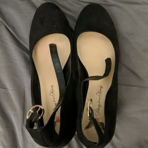 Black ankle strap Valentine's Day heels